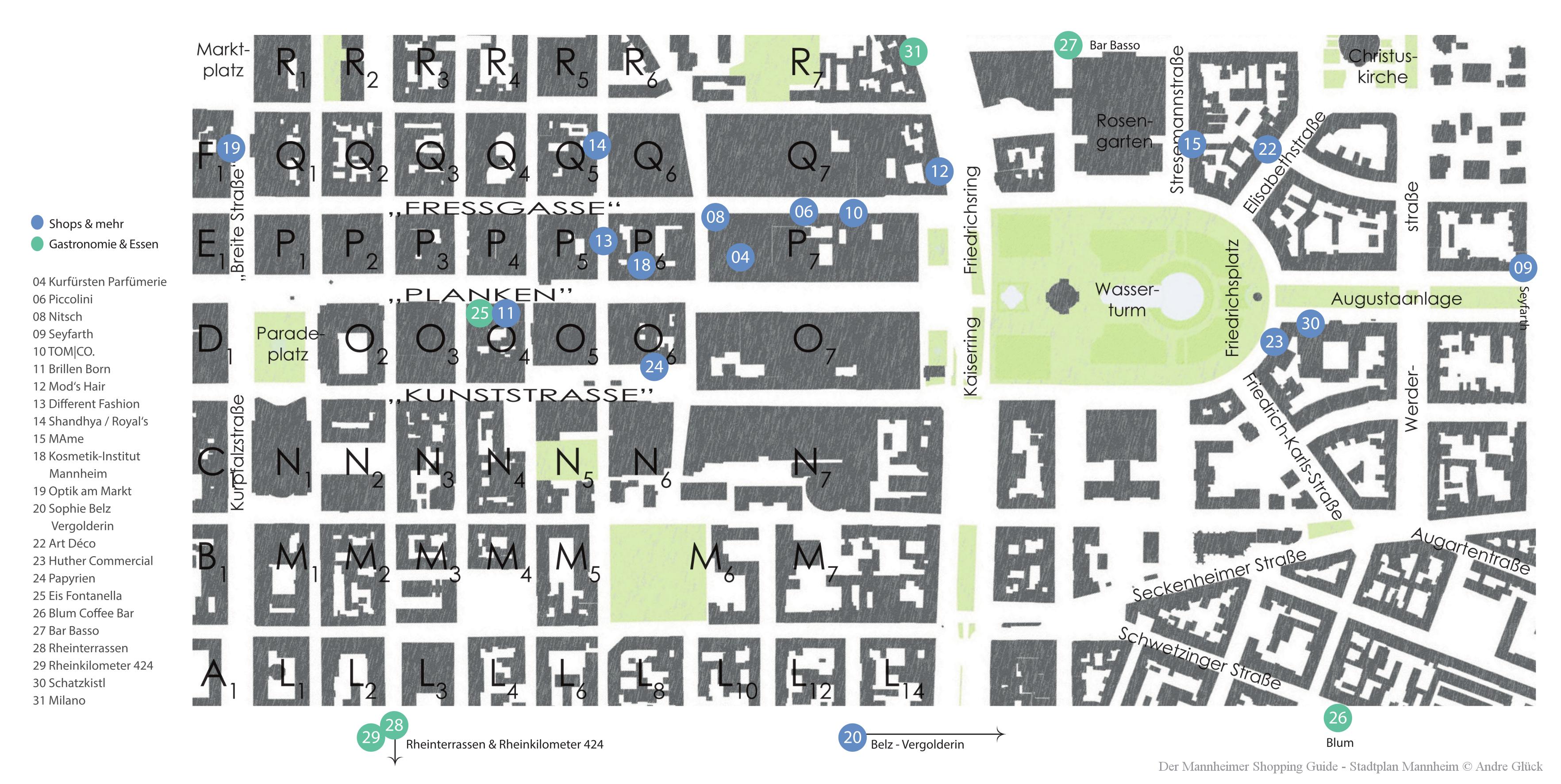 Shopping Guide Stadtplan Mannheim